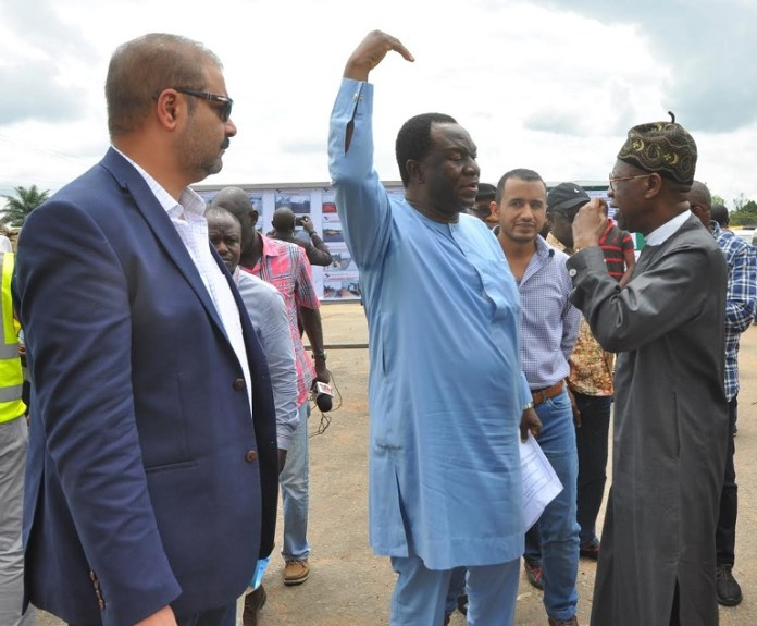 Minister of Information and Culture, Alhaji Lai Mohammed (right); Mr. Adetunji Adeoye, Director Federal Highways, Federal Ministry of Power, Work and Housing (middle) and Mr. Wael Farouk Salem, Operational Manager, Arab Contractors Nigeria lTD., when the Minister inspected the full stretch of the Enugu-Port Harcourt Expressway under construction on Thursday