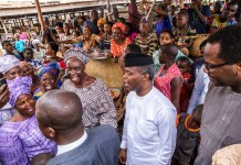 Vice President Yemi Osinbajo (m) is a popular figure in Nigeria