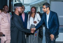 Google CEO Sundar Pichai receives Vice President Yemi Osinbajo to the company's headquarters