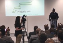 Hadi Sirika Minister of Aviation unveiling Nigeria's new national carrier, Nigeria Air