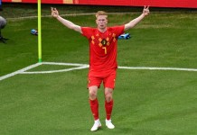 Kevin De Bruyne scored Belgiums second goal as they took a 2 0 lead at half time