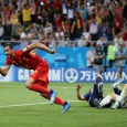Nacer Chadli wheels away after scoring a late winner for Belgium against Japan