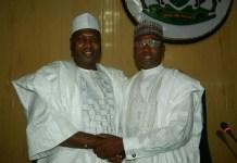 Newly installed Speaker Kabiru Alasan Rirum and impeached Speaker Yusuf Abdullahi Ata