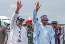 Ondo state governor Rotimi Akeredolu with President Muhammadu Buhari