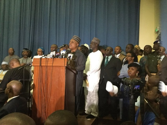 PDP national chairman Uche Secondus giving a speech after a MOU was signed by 39 political parties to oust President Muhammadu Buhari's APC