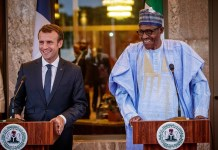 President Emmanuel Macron and President Muhammadu Buhari at the Presidential Villa