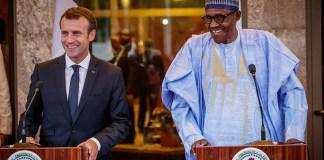 President Emmanuel Macron and President Muhammadu Buhari at the Presidential Villa
