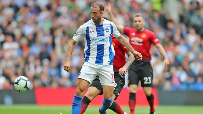 Glenn Murray scored an exquisite flick to give Brighton the lead against Manchester United
