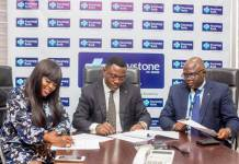L-R: Mrs. Funke Akindele Bello, Keystone Bank Brand Ambassador, Dr. Obeahon Ohiwerei, GMD/CEO, Keystone Bank Limited, and General Counsel, Keystone Bank Limited, Dr. Michael Agamah during the contract signing of Funke Akindele Bello as Keystone Bank Brand Ambassador, at Keystone Bank Head Office in Lagos recently