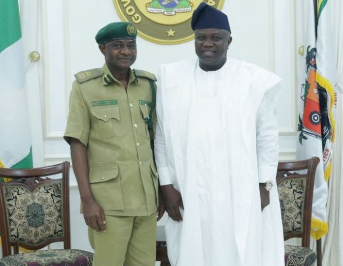 Lagos State Governor, Mr. Akinwunmi Ambode, with the Controller of Prisons, Lagos Command, Nigeria Prisons Service, Mr. Tunde Ladipo (left) during a courtesy visit to the Governor at his residence in Epe, Lagos, on Friday, August 24, 2018