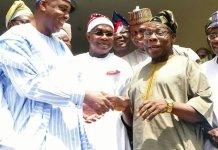 Senator Bukola Saraki paid a visit to former President Chief Olusegun Obasanjo in Abeokuta
