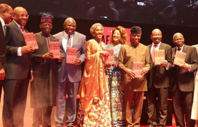 "Ambode, Osinbajo, Tinubu all graced the launch of Jim Ovia's book ""Africa Arise and Shine"" on Monday"