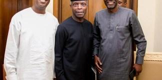 Lagos deputy governor, Mr Femi Hamzat, Vice President Yemi Osinbajo and Governor Babajide Sanwo-Olu
