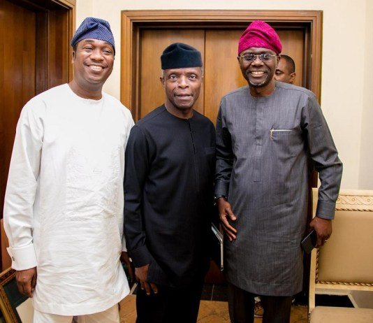 Lagos deputy governor, Mr Femi Hamzat, Vice President Yemi Osinbajo and Governor Babajide Sanwo-Olu