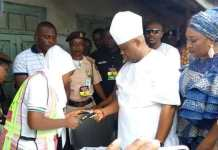 PDP candidate Ademola Adeleke being accredited to vote