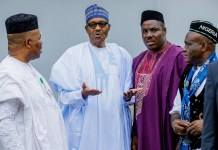 FILE PHOTO: President Muhammadu Buhari met with Senator Godswill Akpabio and other Akwa Ibom elders and political leaders