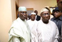 FILE PHOTO: Afenifere group led by Chief Ayo Adebanjo joined Winners Chapel General Overseer Bishop David Oyedepo, PDP presidential candidate Atiku Abubakar and others to visit Chief Olusegun Obasanjo in Abeokuta