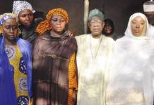 From left, Minister of State Industry, Trade and Investment, Hajia Aisha Abubakar; Mrs. Rebecca Sharibu, mother of Leah Sharibu, Minister of Information and Culture, Alhaji Lai Mohammed; Minister of State for Foreign Affairs, Hajia Khadija Abba Ibrahim