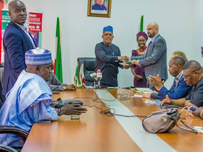 PDP national chairman Prince Uche Secondus receives EU delegation led by Niclay Paus in Abuja