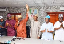 Lagos Party chairman Balogun, 3rd left presents Hamzat as the deputy governorship candidate for APC. Sanwoolu, governorship candidate is 2nd left