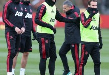 Manchester United players tarining ahead of the Crystal Palace match in the league