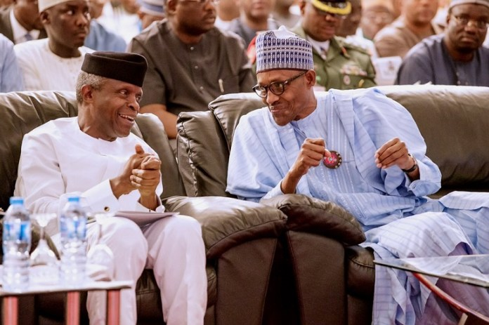 President Muhammadu Buhari and Vice President Yemi Osinbajo during the launch of #NextLevel