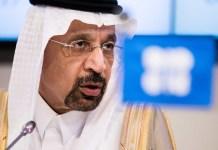Saudi Arabia energy minister Khalid al-Falih and Nigeria's petroleum minister Ibe Kachikwu hold a joint press meeting in Abuja on Wednesday