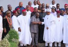 Governor Okezie Ikpeazu and President Muhammadu Buhari after the signing of Enyimba Economic City