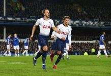 Harry Kane scored twice as Tottenham beat Everton 6-2 to stay third in the league