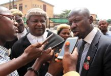 Ibrahim Magu fielding questions from journalists after court proceedings