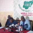 Members of CCSO-JE during a world press conference