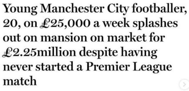 Newspaper headline about Tosin Adarabioyo, a black player with Manchester City