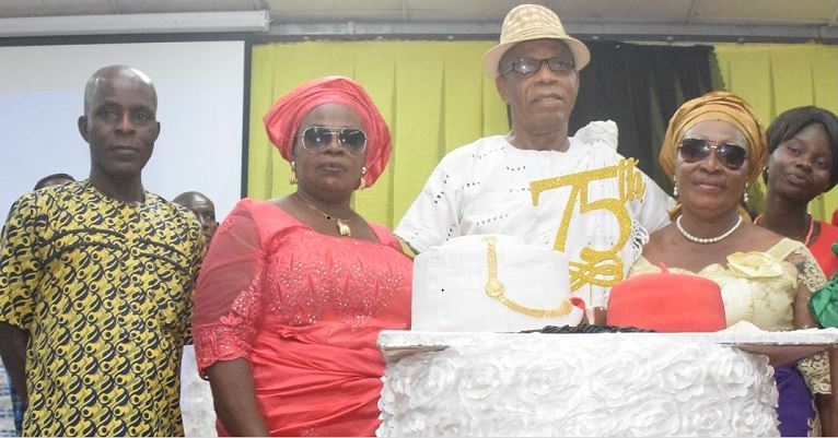 Pa Onwordi with family members during his 75th birthday