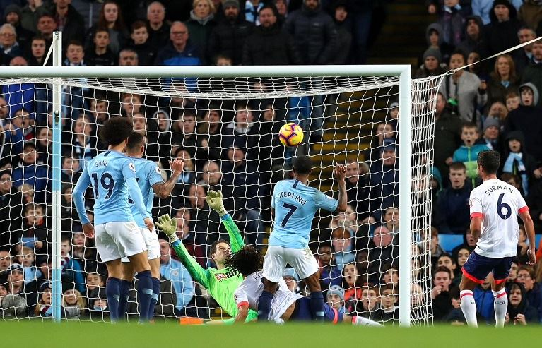 Raheem Sterling scored his eight league goal against Bournemouth at the Etihad Stadium