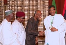 President Muhammadu Buhari, Chairman, Board of Trustee Nigerian Media Merit Award, Engr Vincent MadukaRustee and Ag Chairman BOT, Dr Haroun Adamu and Trustee, Past Chairman Award Panel and APC Chieftain, Prince Tony Momoh during an audience with A delegation of Trustees of the Nigeria Media Merit Award (NMMA) for the investiture of President B8hari as the Grand Patron of NMMA held in State House Abuja