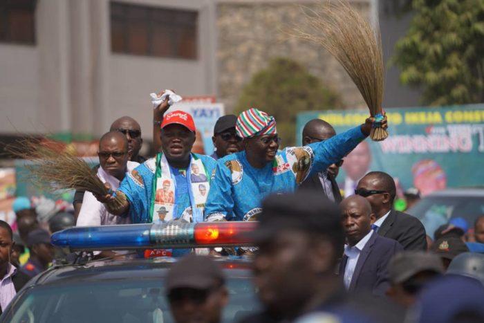 Governor Akinwunmi Ambode and Babajide Sanwo-Olu arriving the Lagos APC rally