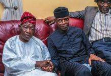 Pa Lateef Jakande with Vice President Yemi Osinbajo at his residence on Thursday