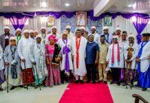 President Muhammadu Buhari and Governor Ben Ayade of Cross River at the palace of the Obong of Calabar