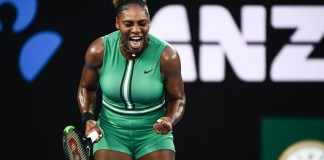 Serena Williams beat world number Simona Halep 6-1, 4-6, 6-4