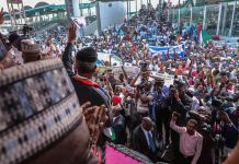 VP Yemi Osinbajo addressing the people during the drive for Buahri Osinbajo Campaign Rally