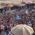 Vice President Yemi Osinbajo addressing a mammoth crowd in Saki town, Oyo State