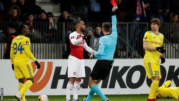 Alexandre Lacazette was sent off for an elbow on Aleksandar Filipovic
