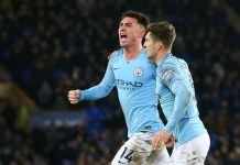 Aymeric Laporte scored Manchester City's opener against Everton