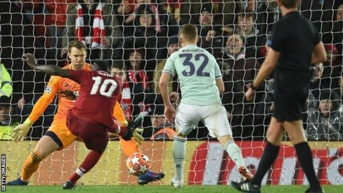 Liverpool's two shots on goal came from Sadio Mane and Mohamed Salah