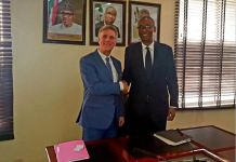 Minister of Trade and Investment, Okechukwu Enelamah with Canadian High Commissioner to Nigeria, Philip Baker