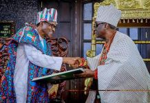 Oba Rilwan Akiolu receives President Muhammadu Buhari at his palace in Lagos