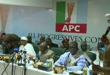 President Muhammadu Buhari at the APC caucus meeting in Abuja on Monday