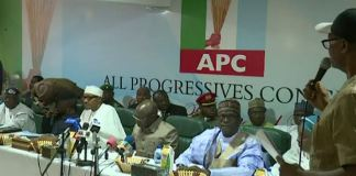 President Muhammadu Buhari at the APC caucus meeting in Abuja on Monday