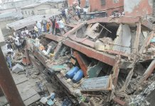 FILE PHOTO: An aerial view of a collapsed building in Lagos