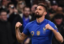 Olivier Giroud is third highest goal scorer of all time for France with 35 goals. Only Thierry Henry, 51 and Michel Platini, 41 have more goals